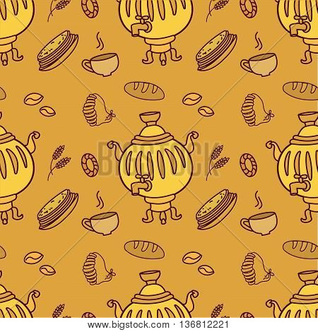 Seamless pattern with Russian traditional food and Samovar vector illustration
