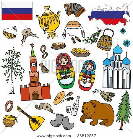 Russian symbols travel Russia Russian traditions. Set of colorful flat style design icons. Vector illustration.