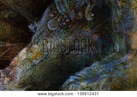 detail of sleeping unicorn head, ornamental drawing.