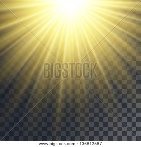 Sun rays effect. Yellow beams blurred and thin on transparent like background.