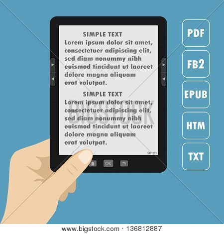 Hand holding portable modern tablet e-book readertext on screenvector illustration