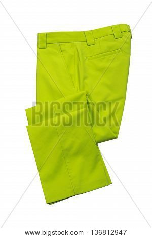 Green pants trousers for man on white background
