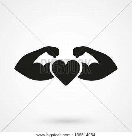 Strong Heart Icon On White Background In Flat Style. Simple Vector