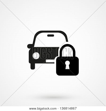 Car Lock Icon On White Background In Flat Style. Simple Vector