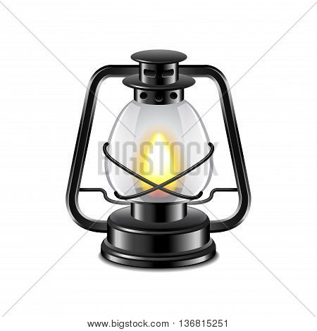 Kerosene lamp isolated on white photo-realistic vector illustration