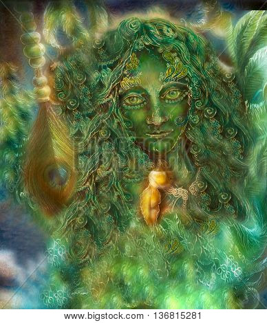 beautiful ornamental emerald fairy with peacok feather, illustration.