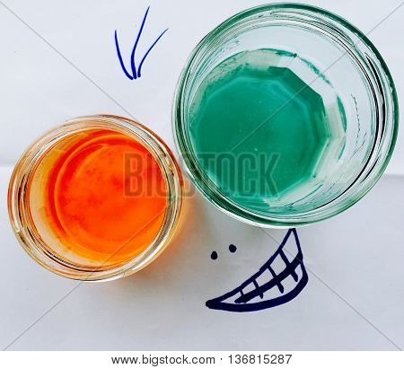 jars, dyes, joke, colors, funny, pigments, rebus, funny face