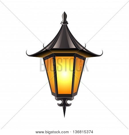 Medieval lamp isolated on white photo-realistic vector illustration