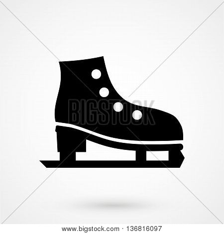 Ice Skates Icon On White Background In Flat Style. Simple Vector