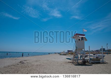 7 june 2016-riccione- panorama of the Rimini beach with the presence of the lifeguard house