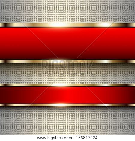 Business background, red banners with gold metallic elements over dots pattern background