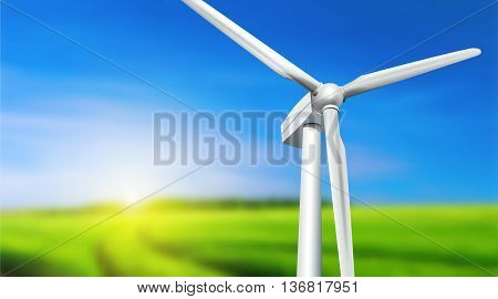 Wind turbine, grass and blue sky -  summer landscape, vector background.
