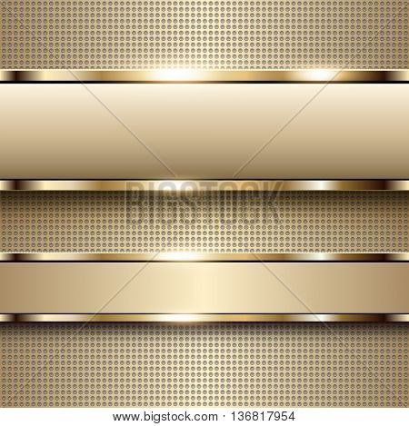 Business background beige, banners with gold metallic elements over dots pattern background