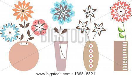Vase of flowers. Isolated vase of flowers set on white background.
