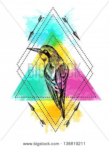 Beautiful hand drawn vector  illustration bird on the watercolor background. Boho style drawing.