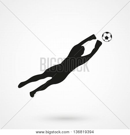 Goalkeeper Icon On White Background In Flat Style. Simple Vector