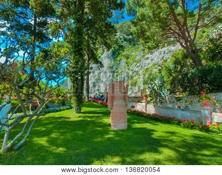 CAPRI, ITALY - May 04, 2014: Bautiful public garden in Capri island in Italy