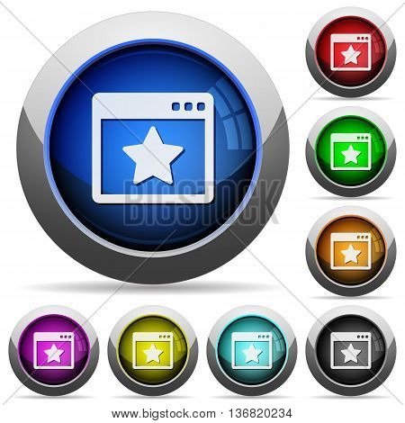 Set of round glossy Favorite application buttons. Arranged layer structure.