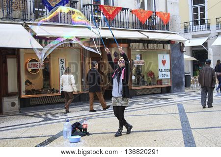 Street Performer Blowing Soap Bubbles