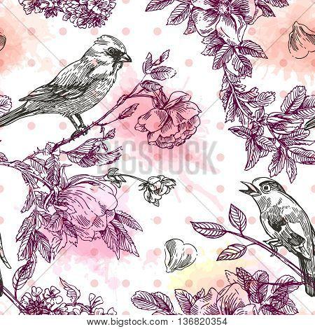 Beautiful hand drawn vector  illustration bird and flowers. Boho style seamless pattern.