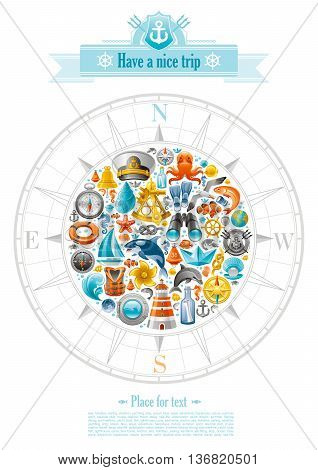 Sea sailing travel poster design on white background with sailing icon set in compass rose. Yachting coat of arms, compass rose, binoculars, killer whale, porthole, message in bottle, yacht