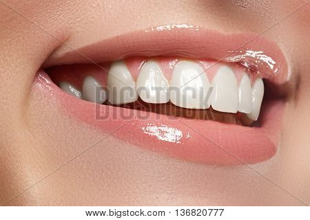 Beauty And Fashion. Woman Smile. Teeth Whitening. Dental Care