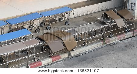 Top View of Empty Mobile Medical Beds Preparing to Use in A Hospital.