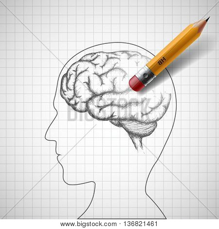 Pencil erases the human brain. Alzheimer disease. Stock vector illustration.