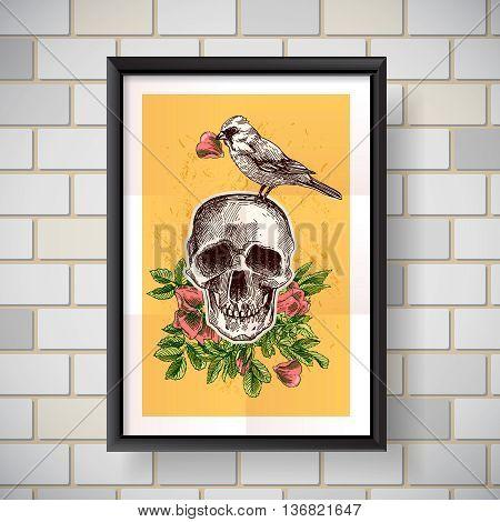 Beautiful hand drawn vector  illustration bird and skull. Boho style drawing. Use for t-shirts, print, poster, postcard, wedding invitations.