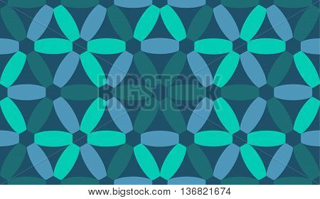 Vector abstract blue seamless pattern on dark background