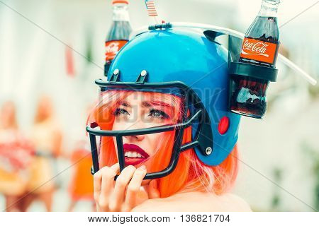 Independence Day Woman With Drink Helmet