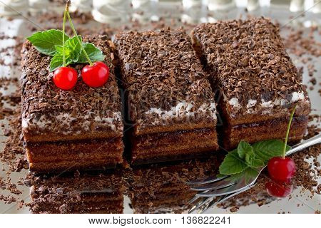Black Forest Cake Black Forest Cake, Dark Chocolate And Cherry Dessert On A Metal Background
