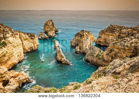 Rocks and rocky beach in Portugal Lagos
