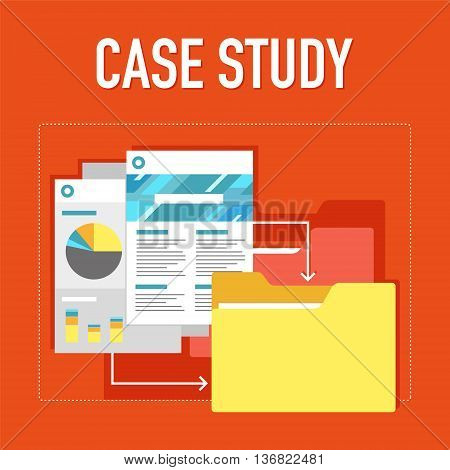 Case study illustration in flat graphic on the red background