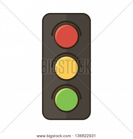 Traffic light vector icon isolated on white background.