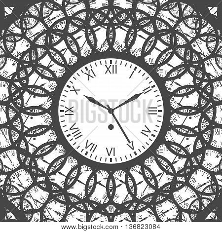 Clock with roman numerals. Gray on white background. Isolated Vector Illustration