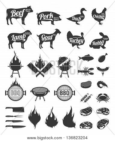 Barbecue grill and steak house labels and design elements. BBQ seafood meat farm animals and knives icons for cafe bar and restaurant menu brandign and identity.