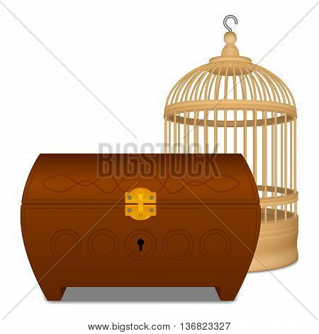 Wooden orange cage and brown casket on white background