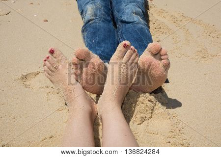 Happy Feet On The Beach Touching Together, Loving Foot