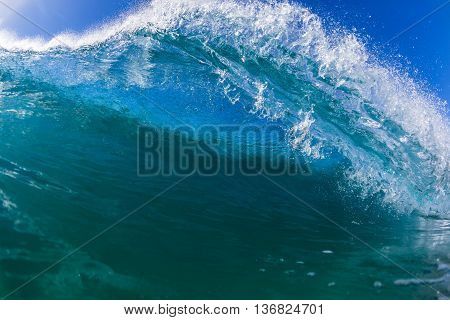 Wave inside hollow crashing blue ocean water power swimming  photo