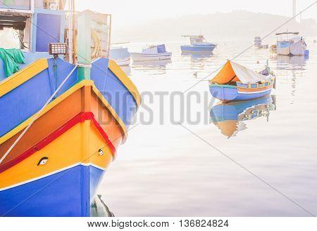 Luzzu traditional maltese eyed boats Marsaxlokk bay Malta