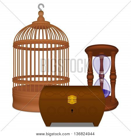 Wooden brown cage and casket and hourglass