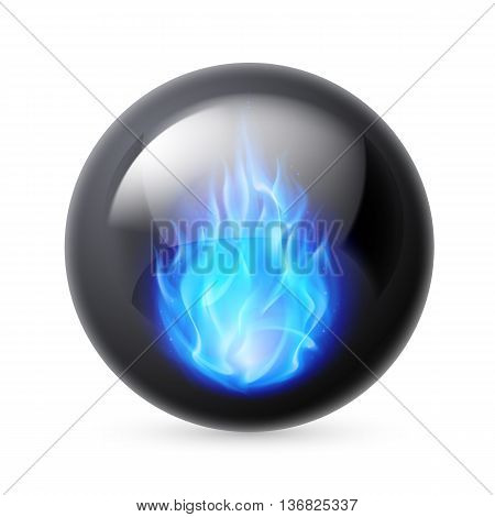 Black sphere with blue fire flames inside on white