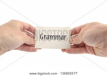 Grammar text concept isolated over white background