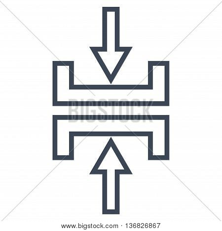 Pressure Vertical vector icon. Style is contour icon symbol, smooth blue color, white background.