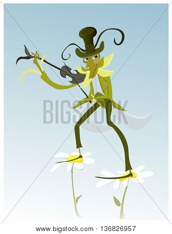 Beautiful, green grasshopper plays violin.vector illustration ok