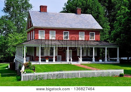 Lancaster Pennsylvania - June 8 2015: Circa 1790 Rock Ford Plantation Georgian-style great house with exterior verandahs built by Revolutionary War General Edward Hand *