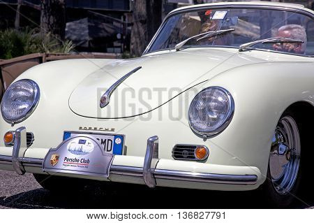 Naples Italy July 02 2016: Vintage white 356 Porsche during the annual historical re-enactment of the Grand Prix of Naples