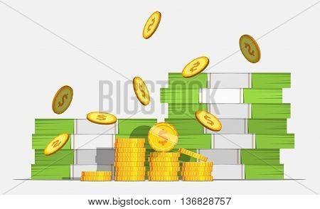 Big stacked pile of cash and some gold coins. Flat style illustration. EPS 10 .