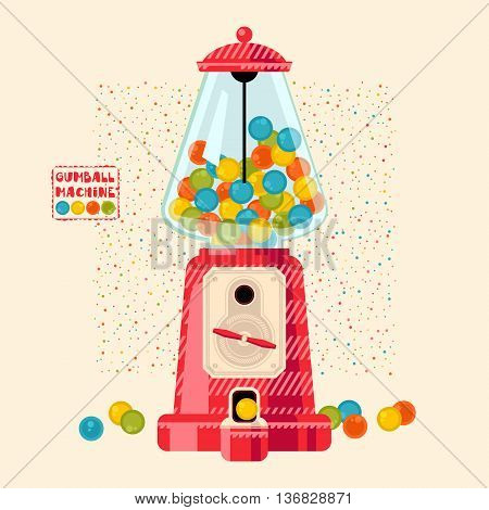 Vintage Gumball machine. Candy Dispenser. Vector illustration